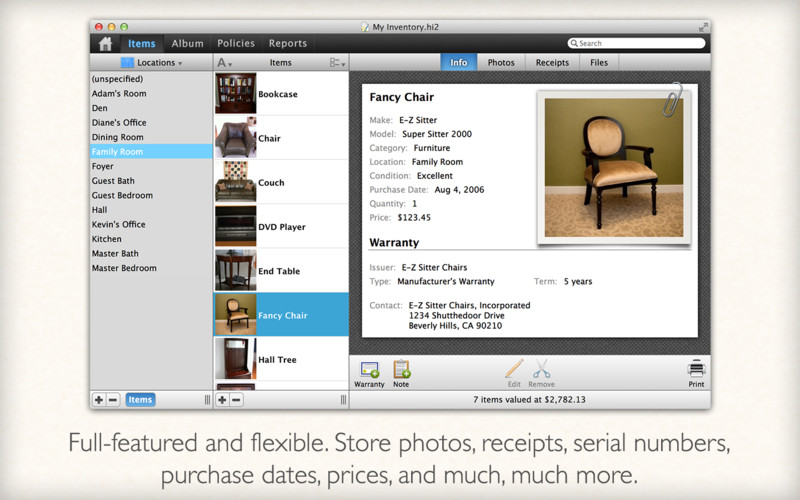 Home Inventory 3.0.1 Mac software screenshot
