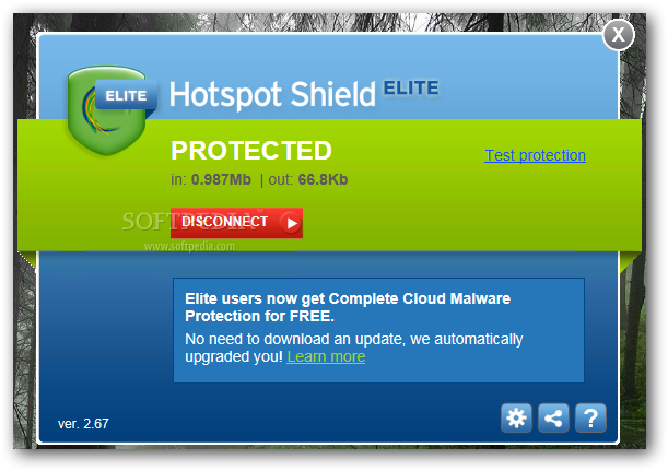 Hotspot Shield Elite 3.19 Mac software screenshot