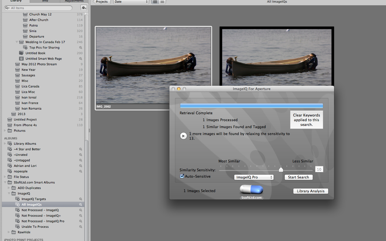 ImageIQ For Aperture 1.3.4 Mac software screenshot