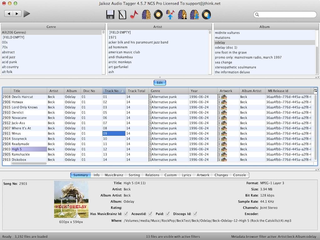 Jaikoz 7.0.1135 Mac software screenshot