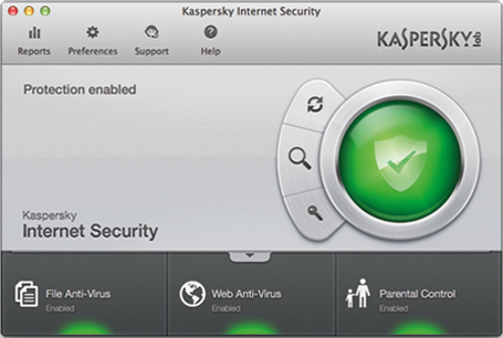Kaspersky Internet Security 2014 14.0.0.177 Mac software screenshot