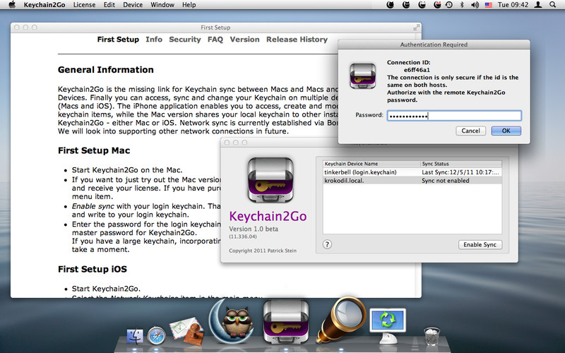 Keychain2Go 1.26 Mac software screenshot
