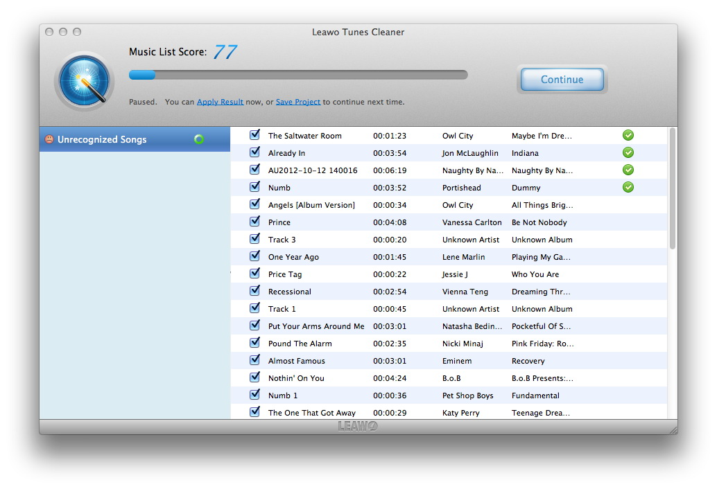 Leawo Tunes Cleaner 2.1.0 Mac software screenshot