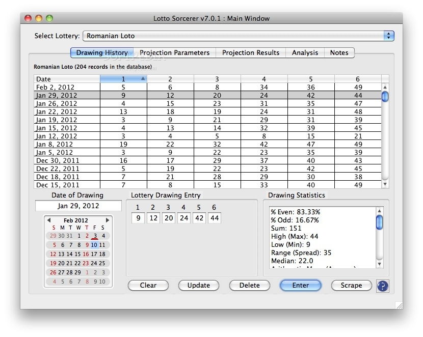 Lotto Sorcerer 7.5 Mac software screenshot