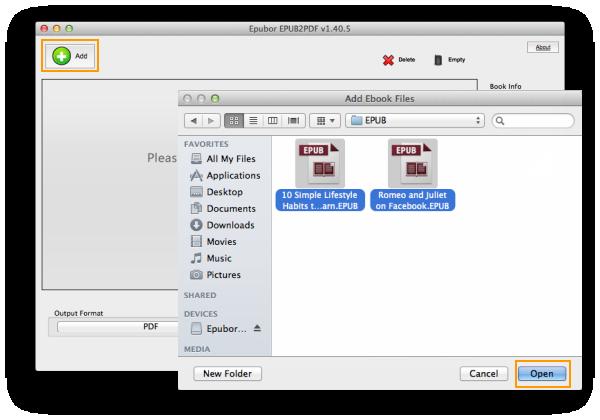 Mac EPUB to PDF 1.40.5 Mac software screenshot
