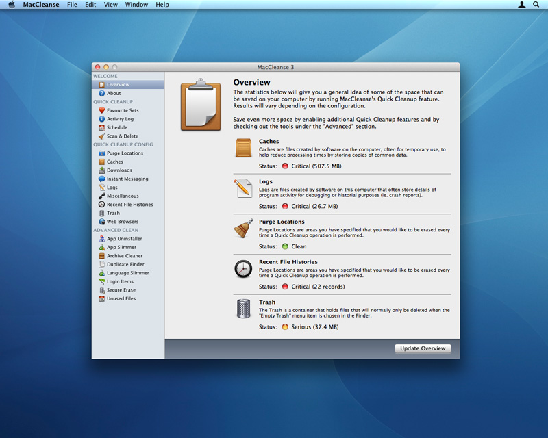 MacCleanse 4.1.4 Mac software screenshot