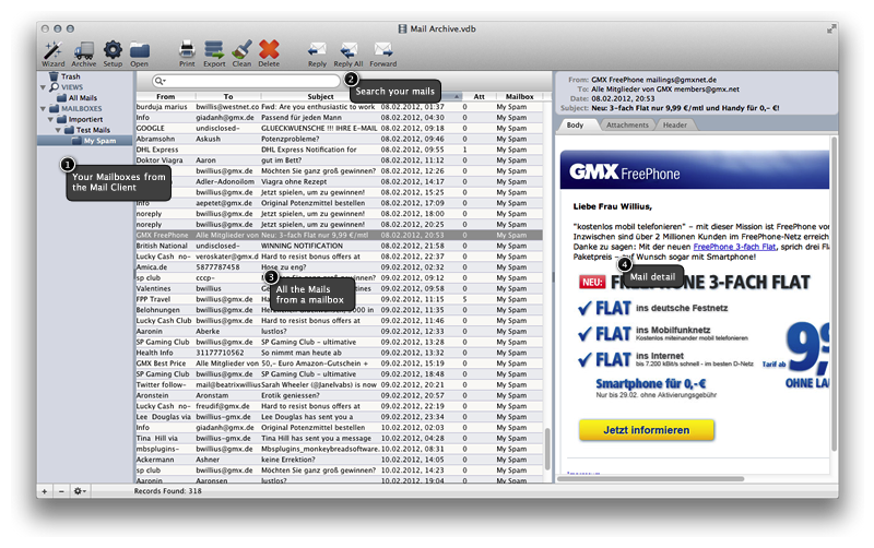 Mail Archiver X 3.1.5 Mac software screenshot