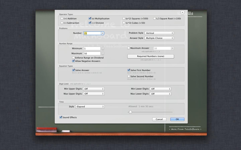 MathBoard Addition 2.0.3 Mac software screenshot