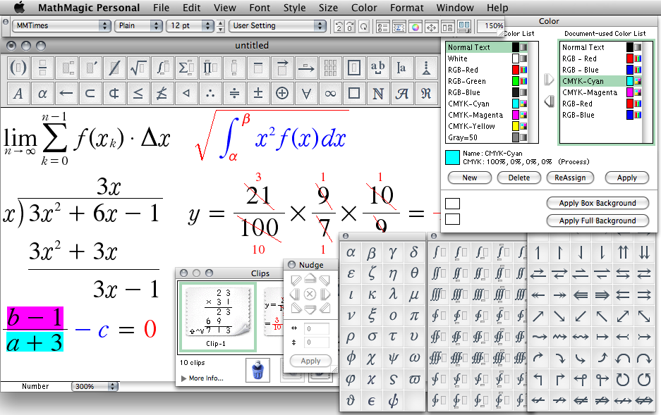 MathMagic Personal Edition 8.9 Mac software screenshot