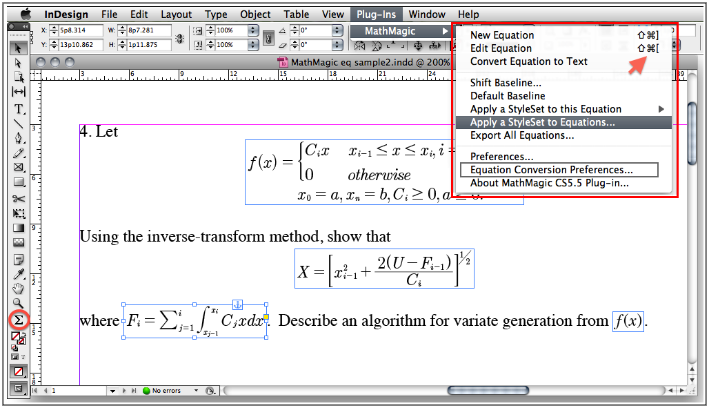 MathMagic Pro for InDesign 8.9 Mac software screenshot