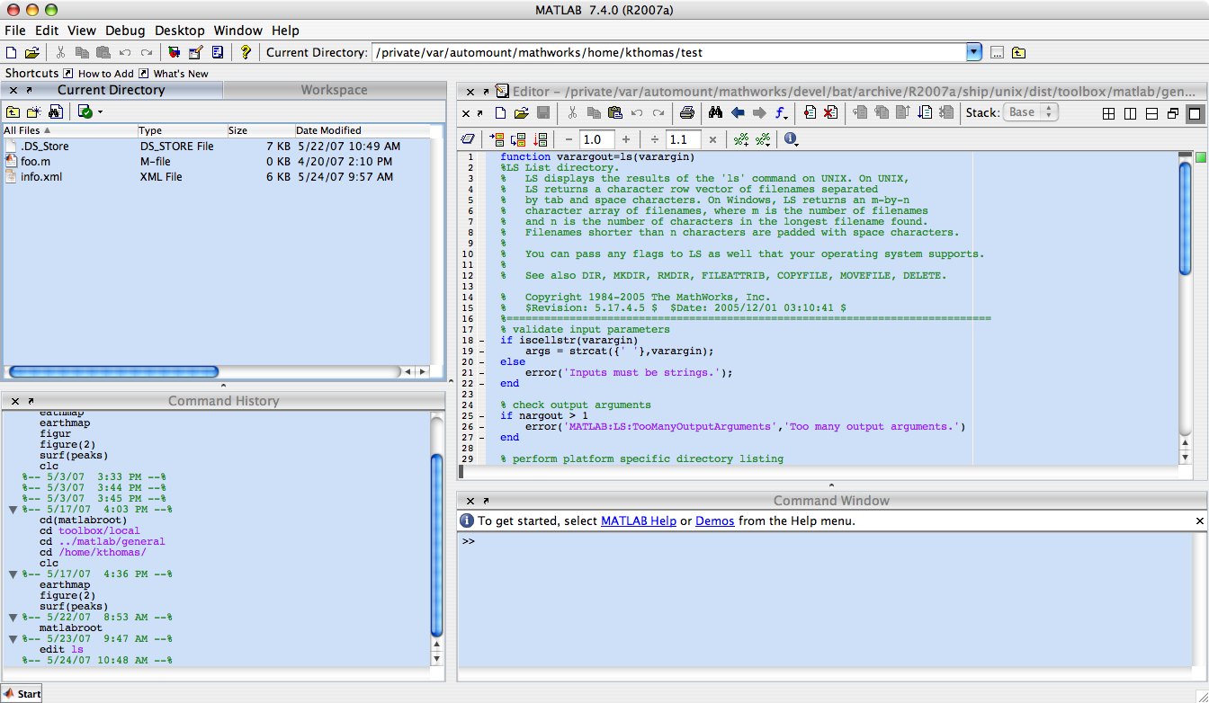 Matlab 8.1 R2013a Mac software screenshot