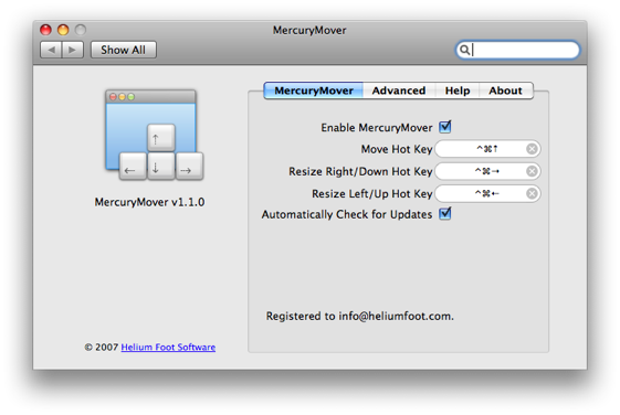 MercuryMover 2.1.1 Mac software screenshot