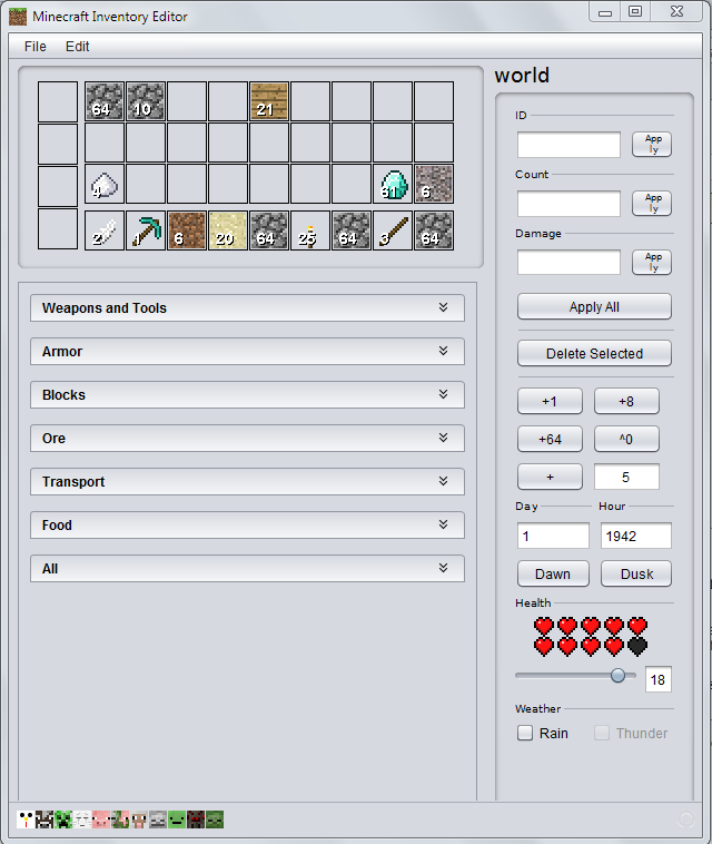 Minecraft Inventory Editor 1.0.2 Mac software screenshot