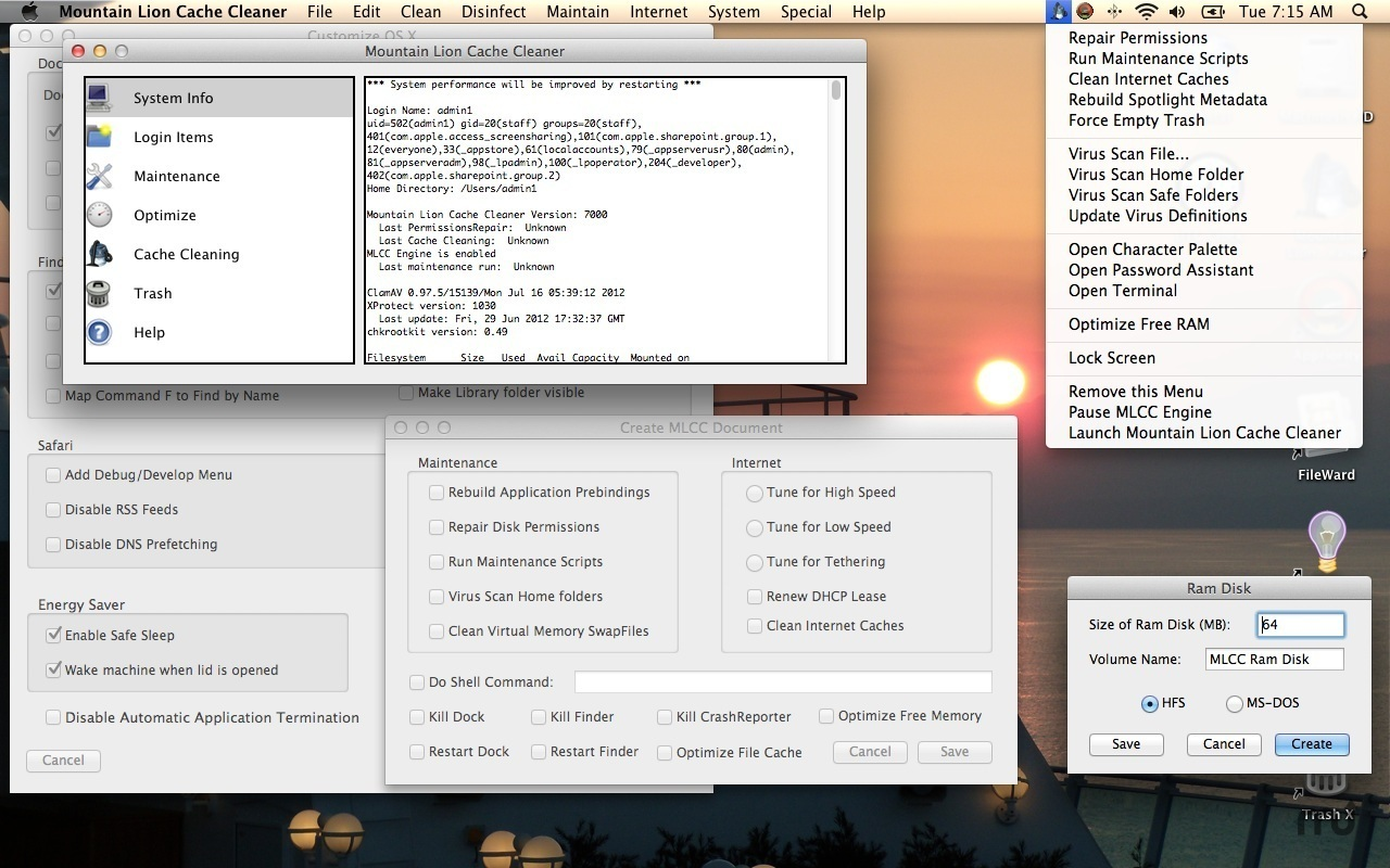Mavericks Cache Cleaner 8.0.7 Mac software screenshot