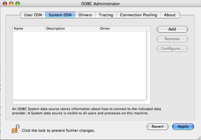 MySQL Connector/ODBC 5.3.4 Mac software screenshot