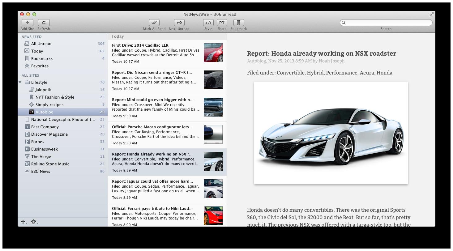 NetNewsWire 3.3.2 Build 3331 Mac software screenshot
