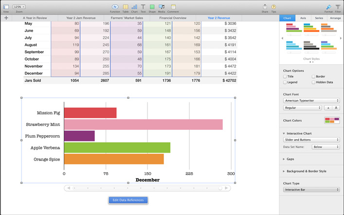 Numbers 3.1 Mac software screenshot