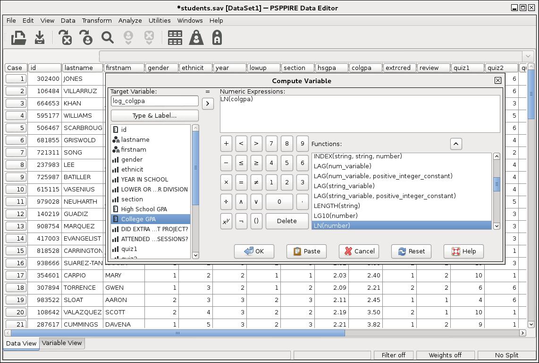PSPP 0.8.3 Mac software screenshot