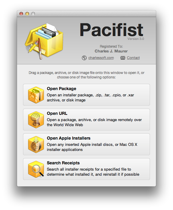 Pacifist 3.2.11 Mac software screenshot
