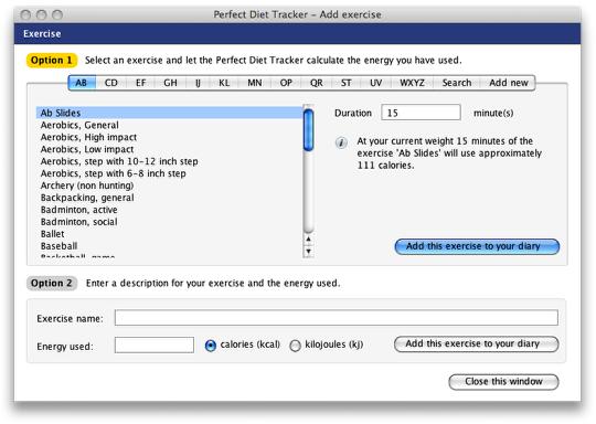 Perfect Diet Tracker 3.7.4 Mac software screenshot