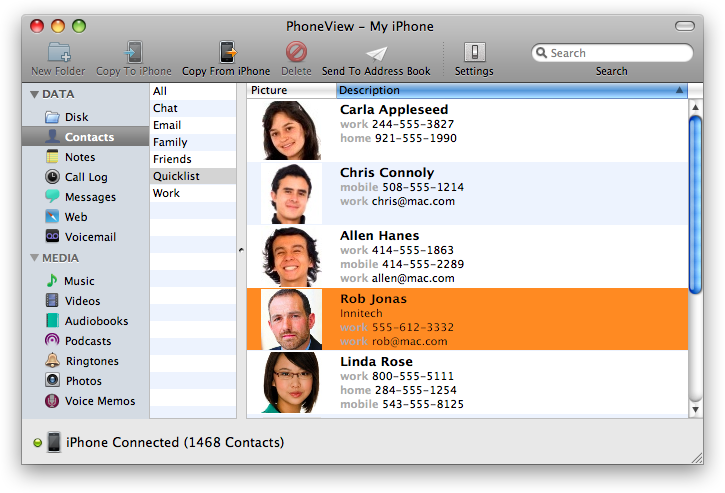 PhoneView 2.10.2 Mac software screenshot