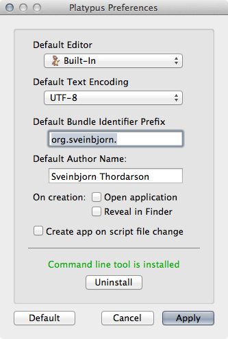 Platypus 4.8 Mac software screenshot