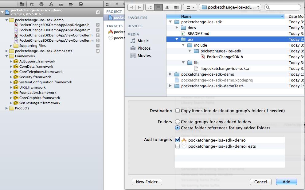 PocketChangeSDK 1.0.3 Mac software screenshot