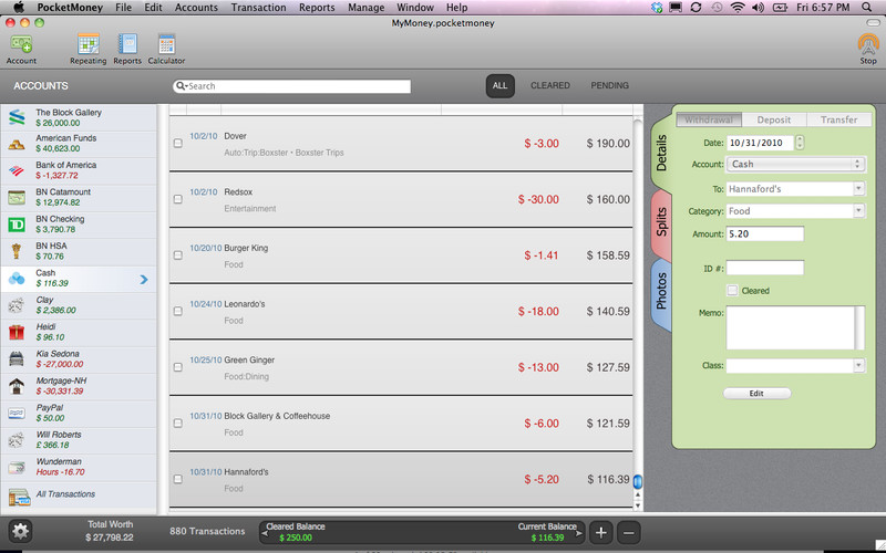 PocketMoney 2.0.13 Mac software screenshot