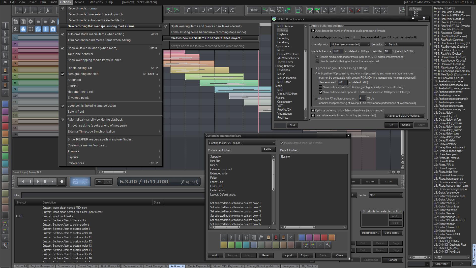REAPER 4.591 Mac software screenshot