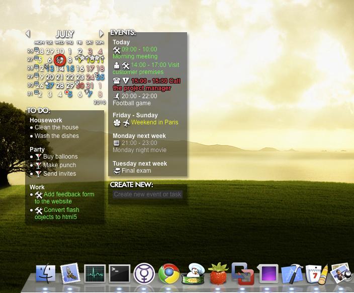 Rainlendar Pro 2.12.2138 Mac software screenshot