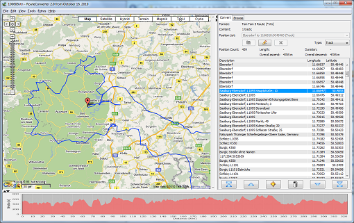 RouteConverter 2.10 Mac software screenshot