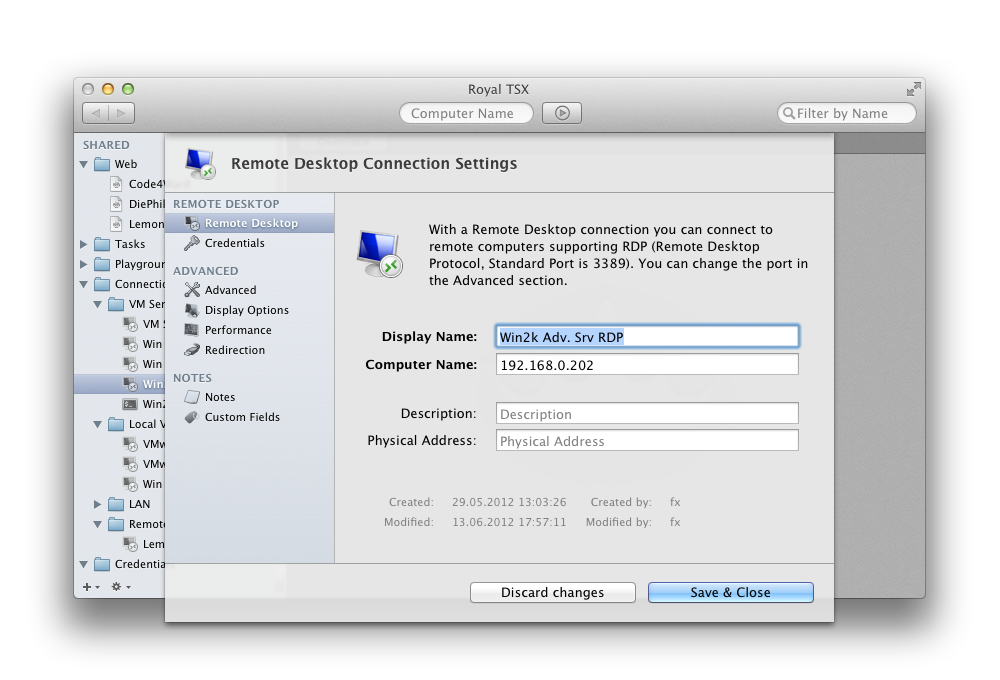 Royal TSX 0.6.4.1  Beta Mac software screenshot