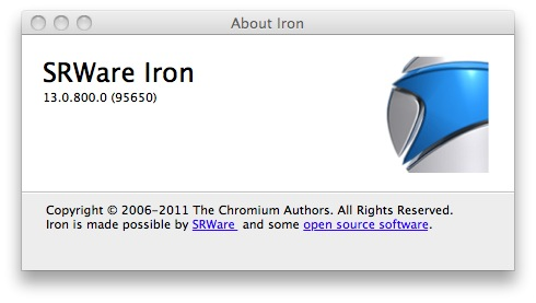 SRWare Iron 24.0.1350.0 Mac software screenshot