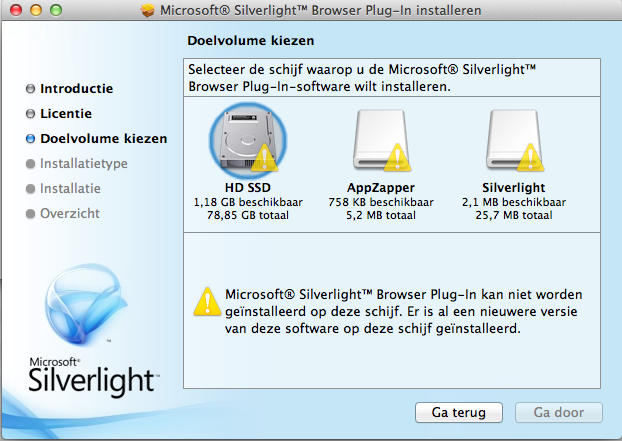 Silverlight 5.1.30514.0 Mac software screenshot