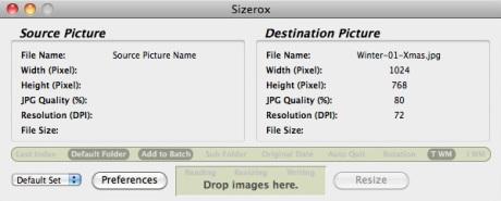 Sizerox 1.4.4b3 Mac software screenshot