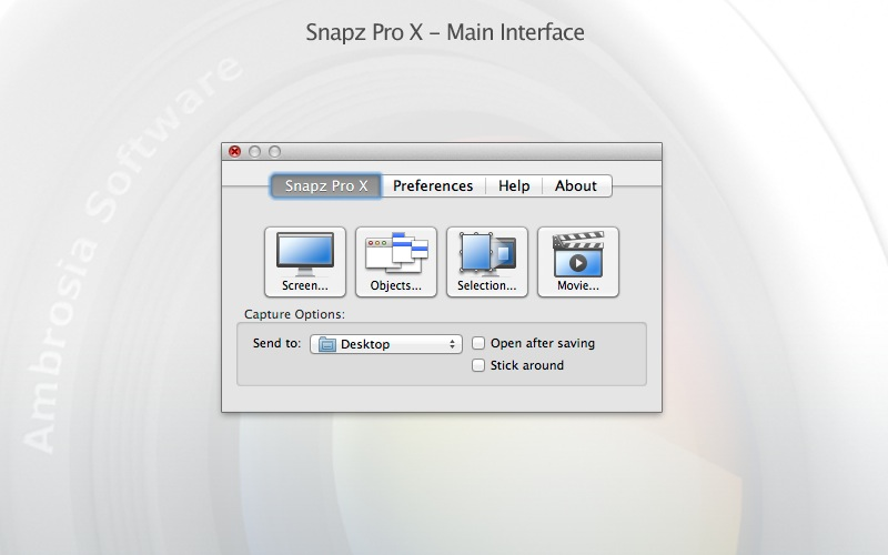 Snapz Pro X 2.5.4 Mac software screenshot