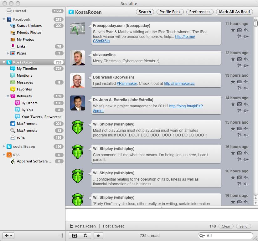 Socialite 1.5.3 Build 7844 Mac software screenshot