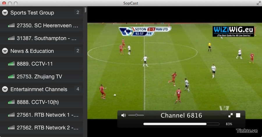 SopCast 1.3.5.715 Mac software screenshot