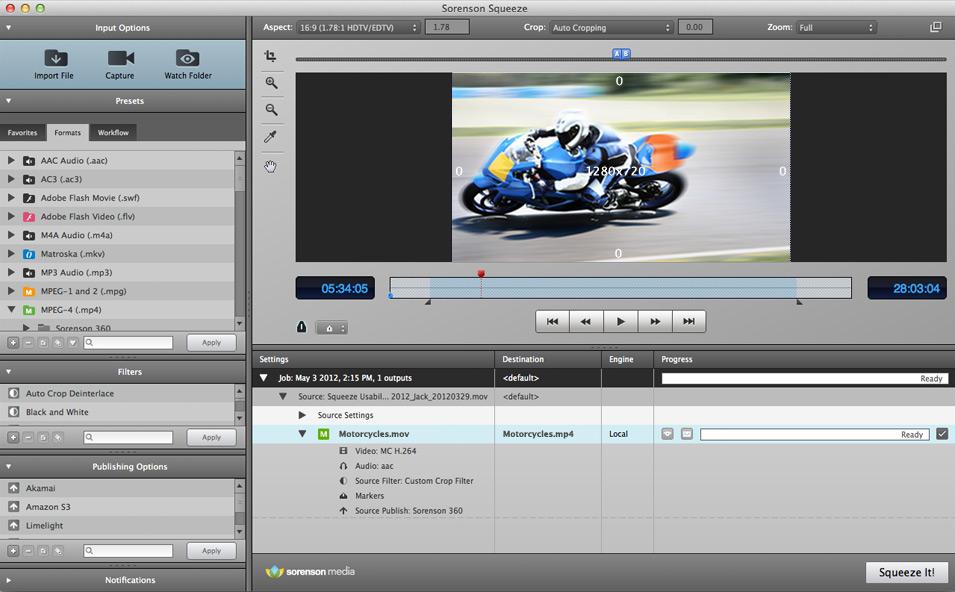 Sorenson Squeeze 9.0.2.81 Mac software screenshot
