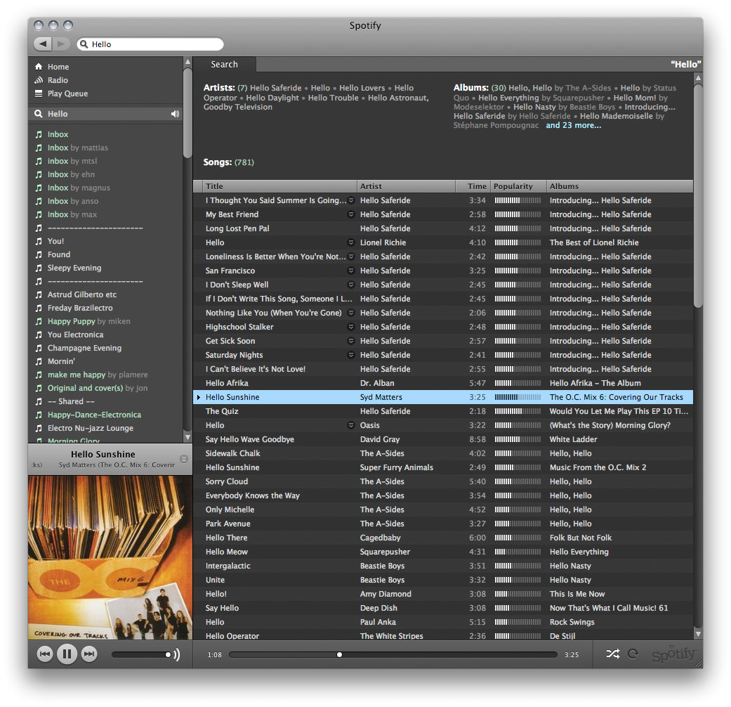 Spotify 0.9.12.10 Mac software screenshot