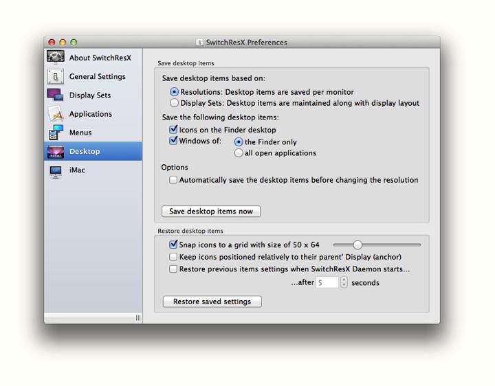 SwitchResX 4.4.1 Mac software screenshot