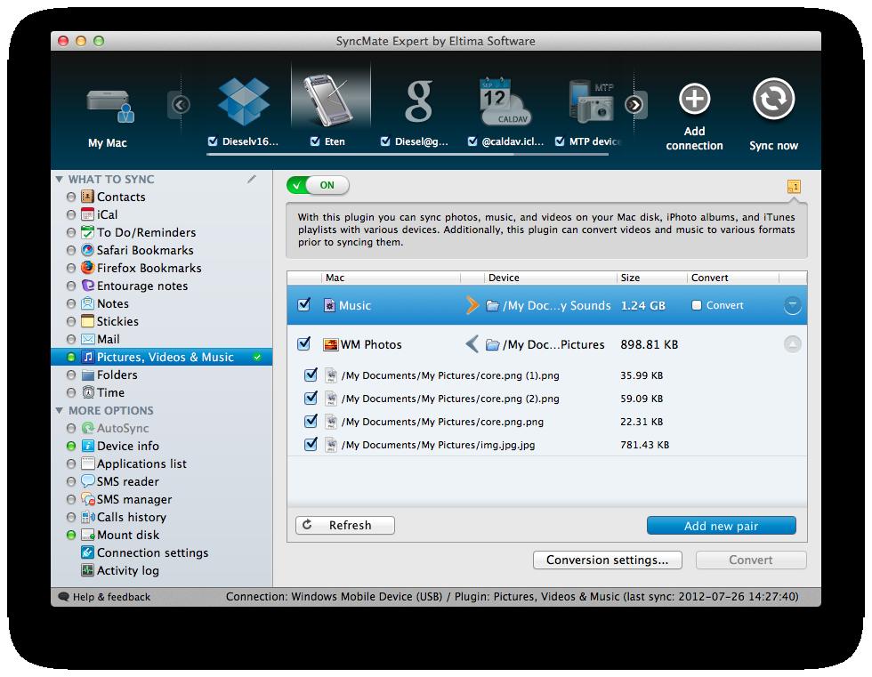 SyncMate 5.0.142 Mac software screenshot