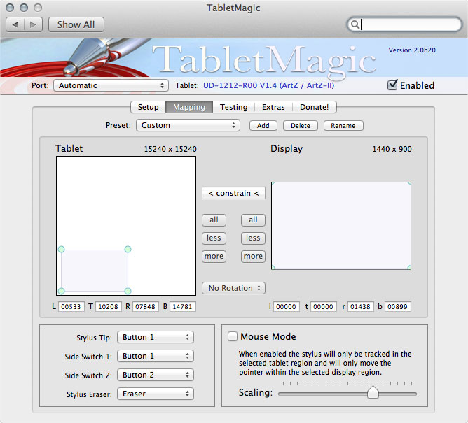 TabletMagic 2.0 Build 20 Mac software screenshot