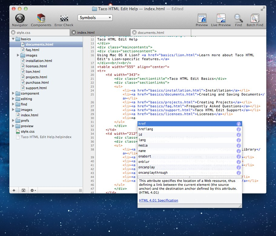 Taco HTML Edit 3.0.7 Mac software screenshot