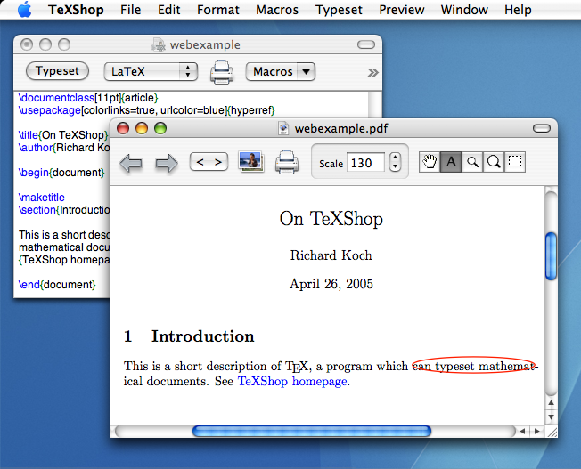 TeXShop 3.22 Mac software screenshot