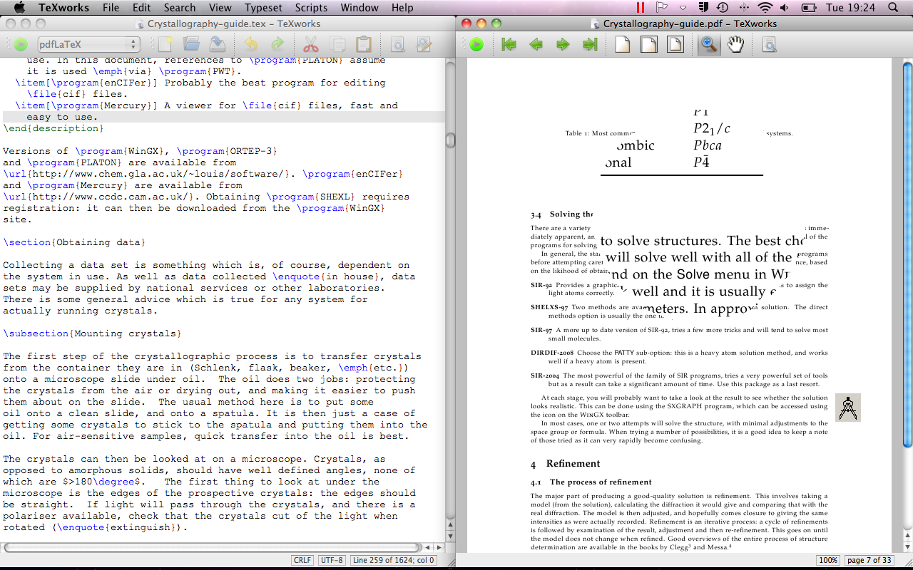 TeXworks 0.4.5 R 1280 Mac software screenshot