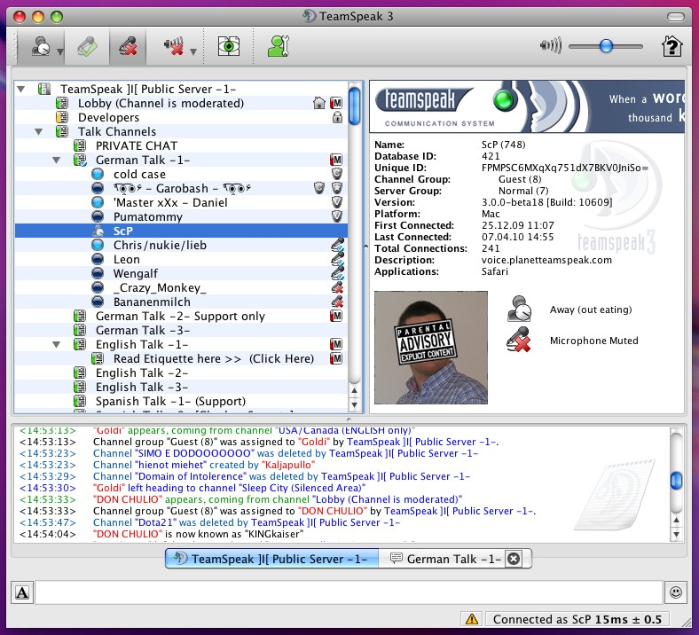 TeamSpeak 3.0.10 Mac software screenshot