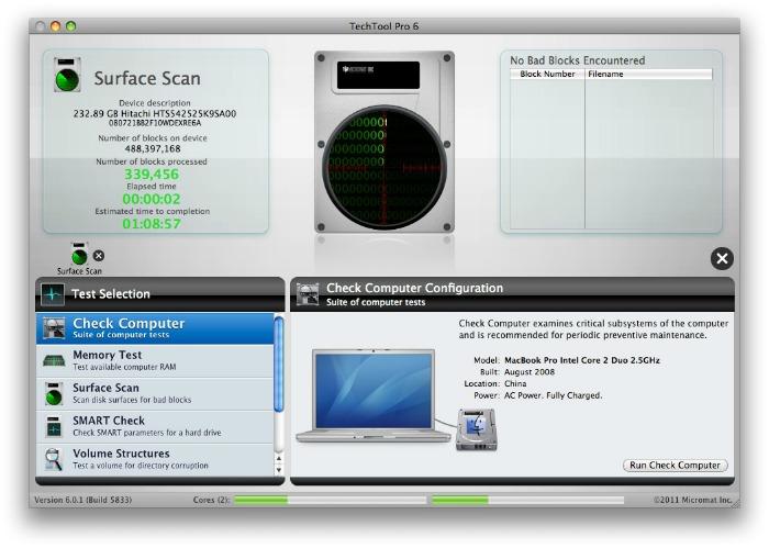 TechTool Pro 7.0.2 Mac software screenshot
