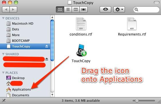 TouchCopy 12.44 Mac software screenshot
