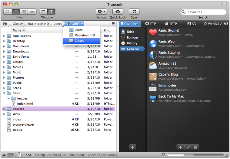 Transmit 4.4.6 Mac software screenshot